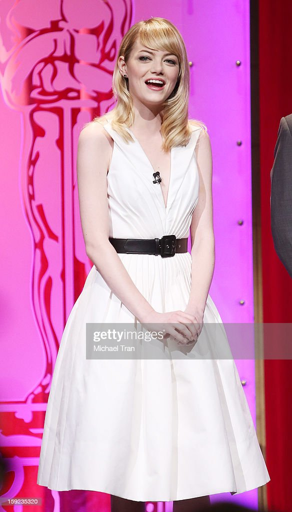 Emma Stone speaks at the 85th Academy Awards nominations announcement held at AMPAS Samuel Goldwyn Theater on January 10, 2013 in Beverly Hills, California.