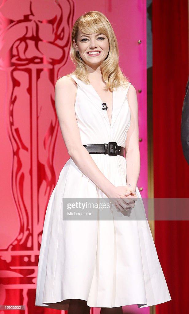 <a gi-track='captionPersonalityLinkClicked' href=/galleries/search?phrase=Emma+Stone&family=editorial&specificpeople=672023 ng-click='$event.stopPropagation()'>Emma Stone</a> speaks at the 85th Academy Awards nominations announcement held at AMPAS Samuel Goldwyn Theater on January 10, 2013 in Beverly Hills, California.