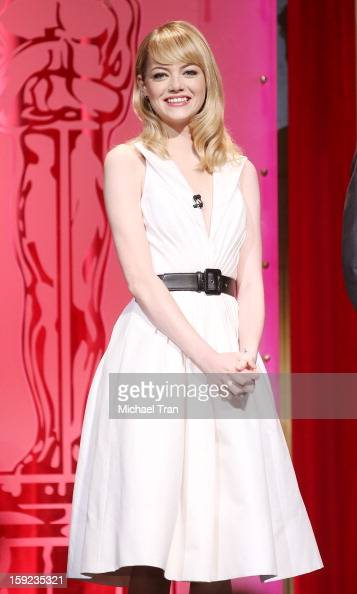 Emma Stone speaks at the 85th Academy Awards nominations announcement held at AMPAS Samuel Goldwyn Theater on January 10 2013 in Beverly Hills...