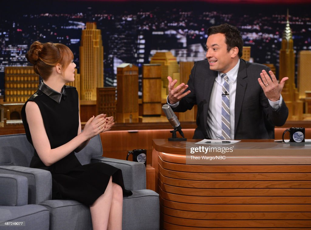 <a gi-track='captionPersonalityLinkClicked' href=/galleries/search?phrase=Emma+Stone&family=editorial&specificpeople=672023 ng-click='$event.stopPropagation()'>Emma Stone</a> visits 'The Tonight Show Starring Jimmy Fallon' at Rockefeller Center on April 28, 2014 in New York City.