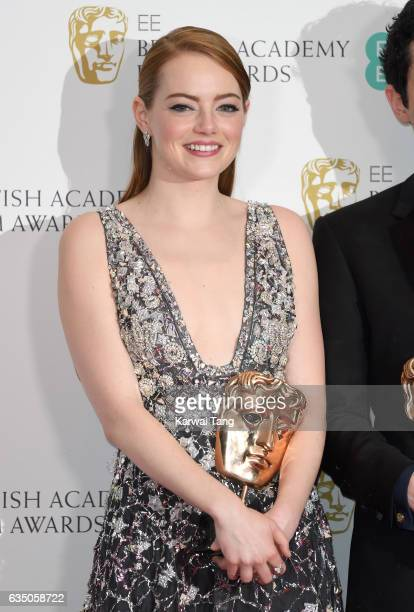 Emma Stone winner of Best Actress award poses in the winners room at the 70th EE British Academy Film Awards at the Royal Albert Hall on February 12...