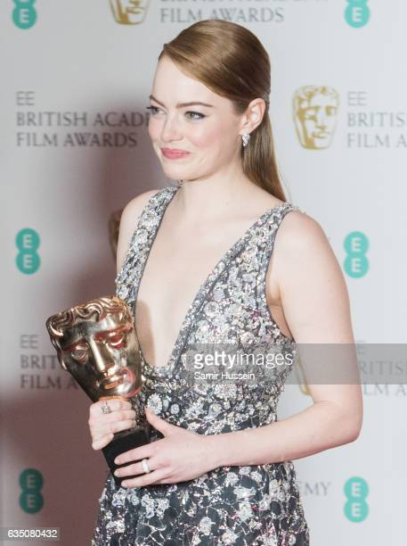 Emma Stone winner of best actress award poses in the winners room at the 70th EE British Academy Film Awards at Royal Albert Hall on February 12 2017...