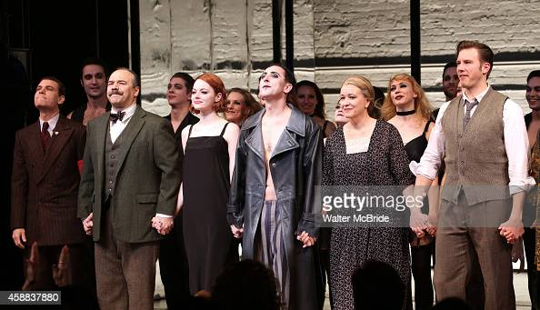Emma Stone with Danny Burstein Alan Cumming Linda Emond Bill Heck and cast during the curtain call for her debut performance in Broadway's 'Cabaret'...