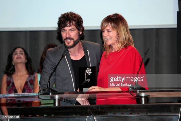 Emma Suarez and Daniel Grau attend the 61th Sant Jordi Cinematography Awards 2017 at the old brewery Damm on April 24 2017 in Barcelona Spain