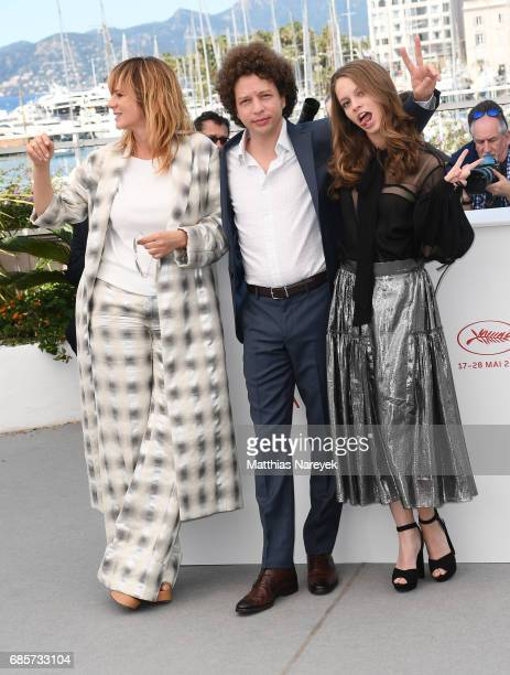 Emma Suarez director Michel Franco and Ana Valeria Becerril attend the 'April's Daughter' photocall during the 70th annual Cannes Film Festival at...
