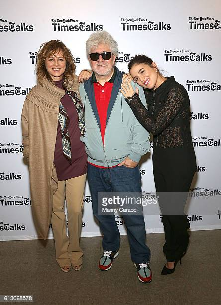 Emma Suarez Pedro Almodovar and Adriana Ugarte attend TimesTalks at Merkin Concert Hall on October 6 2016 in New York City