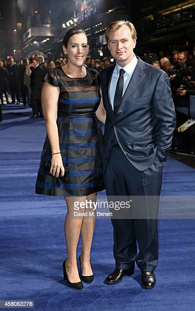 Emma Thomas and Christopher Nolan attend the European premiere of 'Interstellar' at the Odeon Leicester Square on October 29 2014 in London England