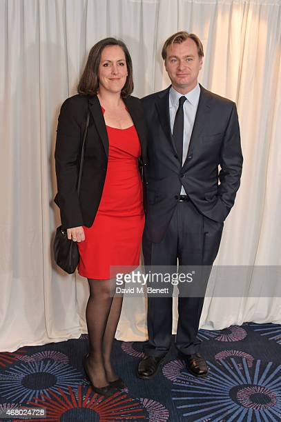 Emma Thomas and Christopher Nolan attend the Jameson Empire Awards 2015 at Grosvenor House on March 29 2015 in London England