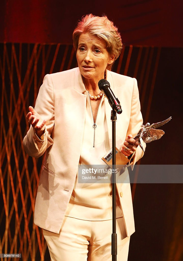 <a gi-track='captionPersonalityLinkClicked' href=/galleries/search?phrase=Emma+Thompson&family=editorial&specificpeople=202848 ng-click='$event.stopPropagation()'>Emma Thompson</a> accepts the Comedy Award for 'The Legend Of Barney Thomson' at the London Evening Standard British Film Awards at Television Centre on February 7, 2016 in London, England.