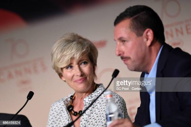 Emma Thompson and Adam Sandler attend 'The Meyerowitz Stories' press conference during the 70th annual Cannes Film Festival at Palais des Festivals...