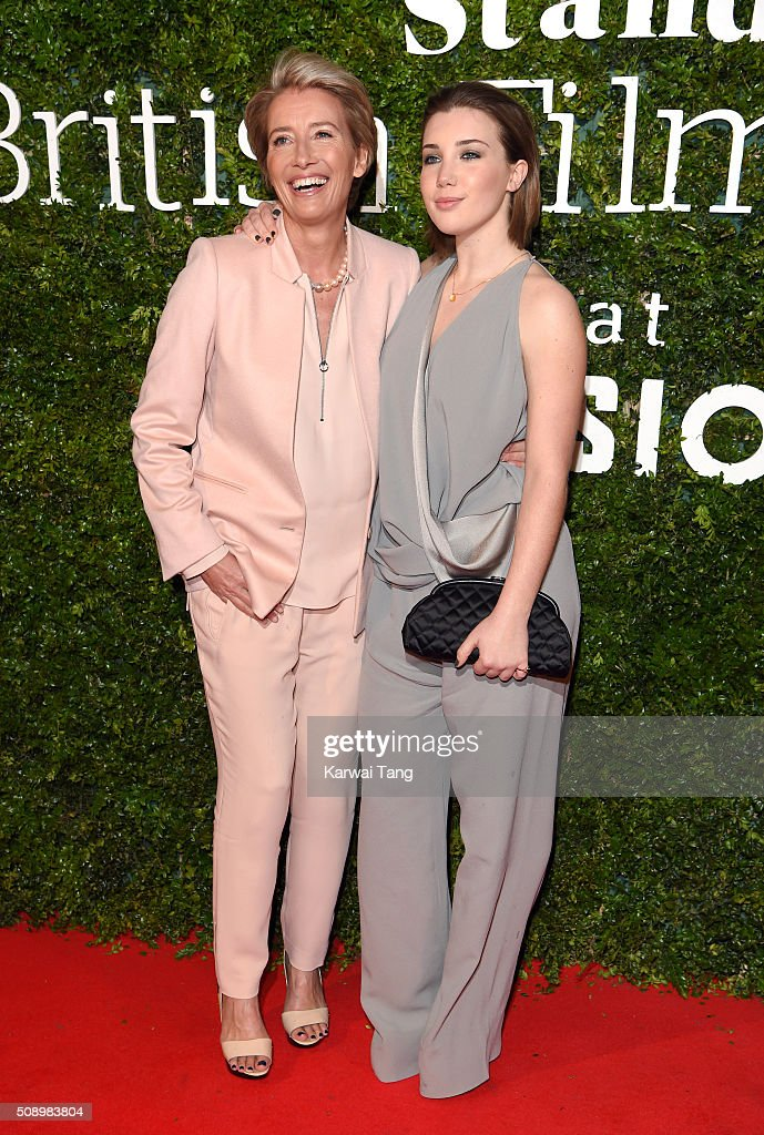 <a gi-track='captionPersonalityLinkClicked' href=/galleries/search?phrase=Emma+Thompson&family=editorial&specificpeople=202848 ng-click='$event.stopPropagation()'>Emma Thompson</a> and daughter Gaia Romilly Wise attend the London Evening Standard British Film Awards at Television Centre on February 7, 2016 in London, England.