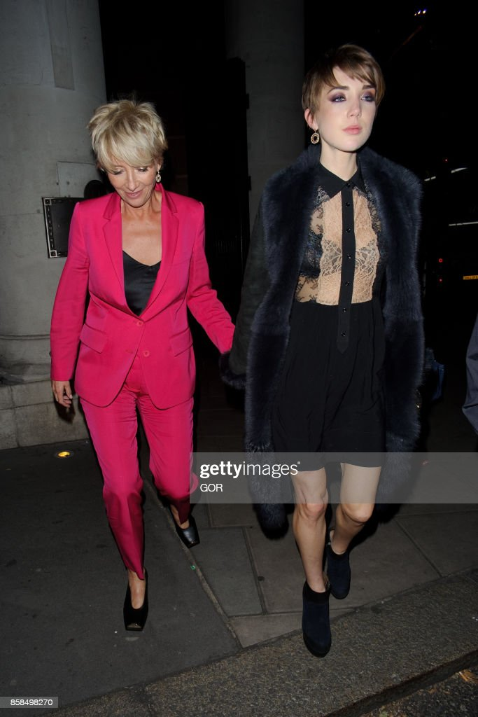 Emma Thompson (L) and daughter Gaia Romilly Wise (R) leaving The Delauney restaurant on October 6, 2017 in London, England.
