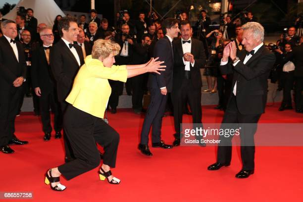 Emma Thompson and Dustin Hoffman fool around as they departs the 'The Meyerowitz Stories' screening during the 70th annual Cannes Film Festival at...