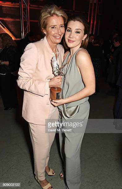 Emma Thompson and Gaia Romilly Wise attend the London Evening Standard British Film Awards after party at Television Centre on February 7 2016 in...