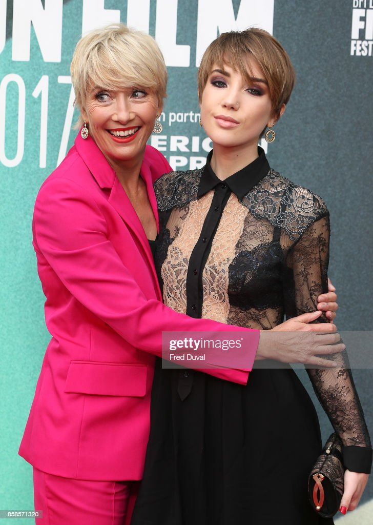 Emma Thompson and Gaia Wise attend 'The Meyerowitz Stories' UK Premiere during the 61st BFI London Film Festival at Embankment Gardens Cinema on October 6, 2017 in London, England.