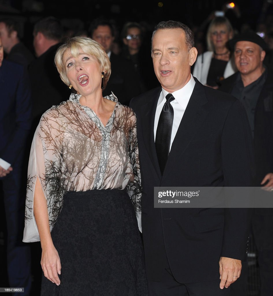<a gi-track='captionPersonalityLinkClicked' href=/galleries/search?phrase=Emma+Thompson&family=editorial&specificpeople=202848 ng-click='$event.stopPropagation()'>Emma Thompson</a> and <a gi-track='captionPersonalityLinkClicked' href=/galleries/search?phrase=Tom+Hanks&family=editorial&specificpeople=201790 ng-click='$event.stopPropagation()'>Tom Hanks</a> attend the Closing Night Gala European Premiere of 'Saving Mr Banks' during the 57th BFI London Film Festival at Odeon Leicester Square on October 20, 2013 in London, England.