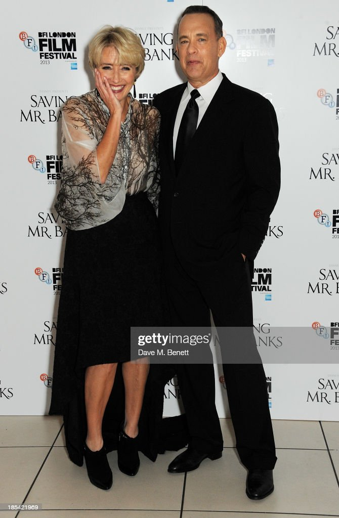 <a gi-track='captionPersonalityLinkClicked' href=/galleries/search?phrase=Emma+Thompson&family=editorial&specificpeople=202848 ng-click='$event.stopPropagation()'>Emma Thompson</a> (L) and <a gi-track='captionPersonalityLinkClicked' href=/galleries/search?phrase=Tom+Hanks&family=editorial&specificpeople=201790 ng-click='$event.stopPropagation()'>Tom Hanks</a> attend the Closing Night Gala European Premiere of 'Saving Mr Banks' during the 57th BFI London Film Festival at Odeon Leicester Square on October 20, 2013 in London, England.