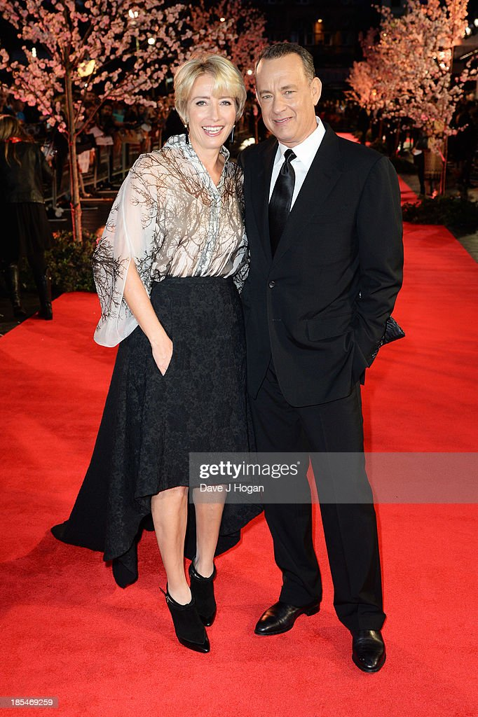 <a gi-track='captionPersonalityLinkClicked' href=/galleries/search?phrase=Emma+Thompson&family=editorial&specificpeople=202848 ng-click='$event.stopPropagation()'>Emma Thompson</a> and <a gi-track='captionPersonalityLinkClicked' href=/galleries/search?phrase=Tom+Hanks&family=editorial&specificpeople=201790 ng-click='$event.stopPropagation()'>Tom Hanks</a> attend the Closing Night Gala European Premiere of 'Saving Mr Banks' on the closing night gala during the 57th BFI London Film Festival at The Odeon Leicester Square on October 20, 2013 in London, England.