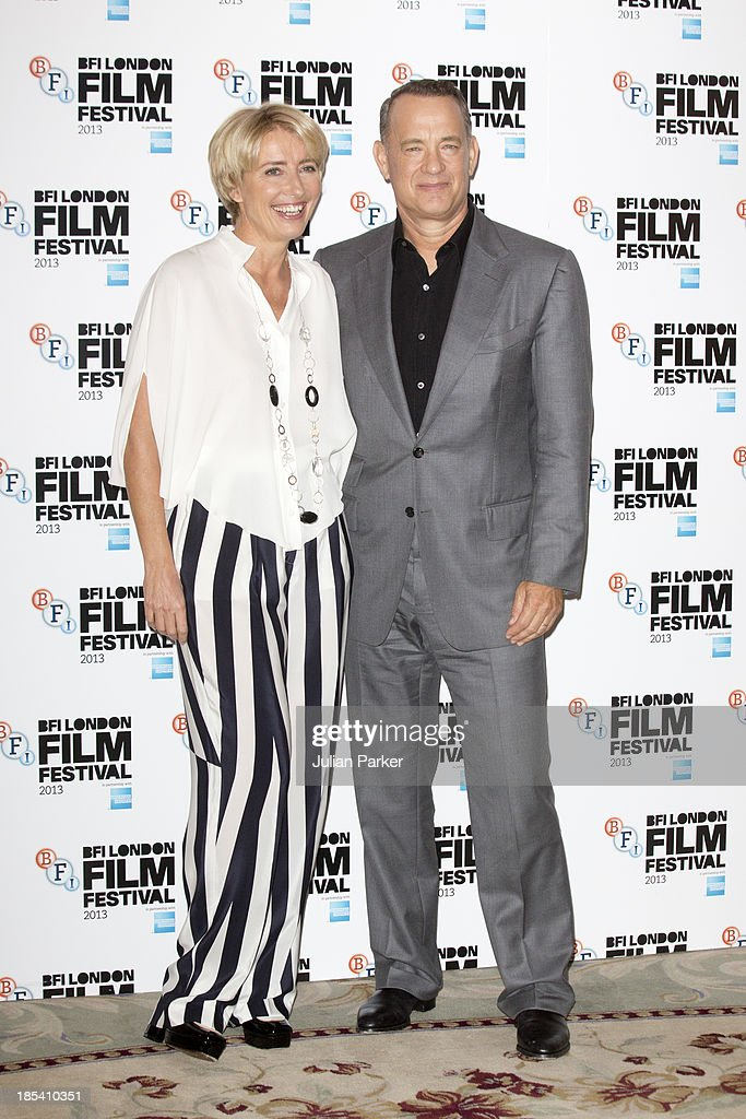 Emma Thompson and Tom Hanks attend the photocall for 'Saving Mr Banks' during the 57th BFI London Film Festival at The Dorchester on October 20, 2013 in London, England.