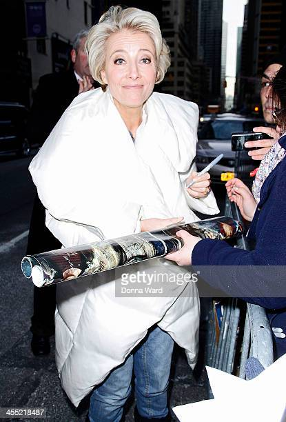 Emma Thompson arrives for the 'Late Show with David Letterman' at Ed Sullivan Theater on December 11 2013 in New York City