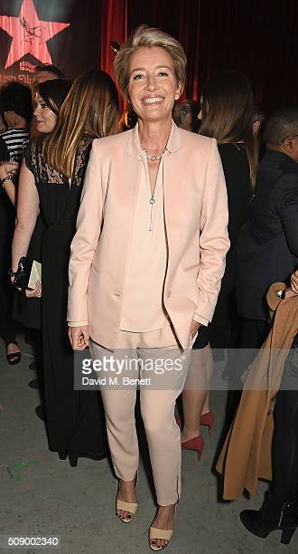 Emma Thompson attends a champagne reception at the London Evening Standard British Film Awards at Television Centre on February 7 2016 in London...