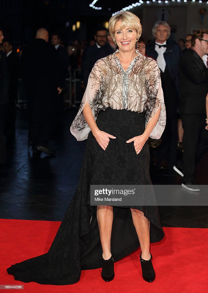<a gi-track='captionPersonalityLinkClicked' href=/galleries/search?phrase=Emma+Thompson&family=editorial&specificpeople=202848 ng-click='$event.stopPropagation()'>Emma Thompson</a> attends the Closing Night Gala European Premiere of 'Saving Mr Banks' during the 57th BFI London Film Festival at Odeon Leicester Square on October 20, 2013 in London, England.