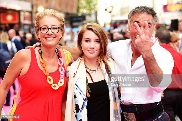 Emma Thompson Gaia Romilly Wise and Greg Wise attend the UK premiere of 'Walking On Sunshine' at The Vue West End on June 11 2014 in London England
