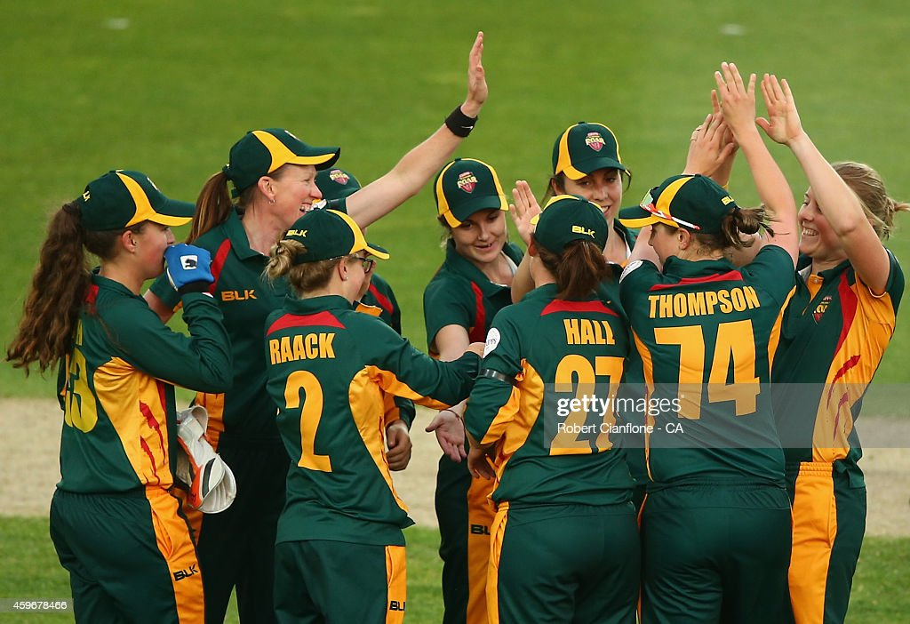 Emma Thompson of the Tasmania Roar celebrates the wicket of Grace Harris of the Queensland Fire during the WT20 match between Tasmania and Queensland...