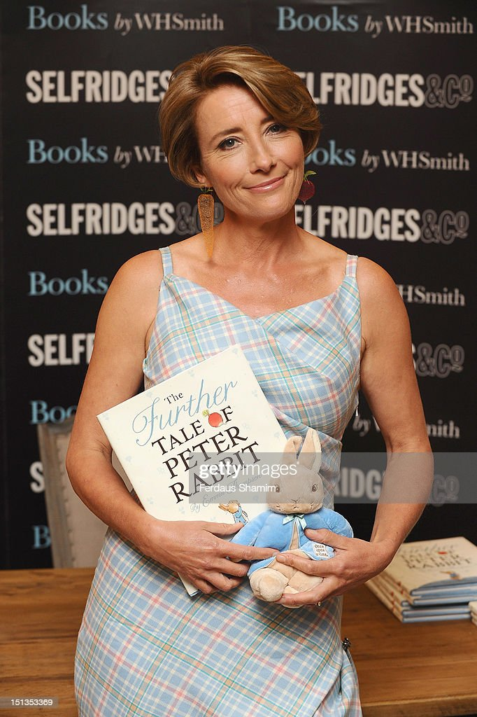 <a gi-track='captionPersonalityLinkClicked' href=/galleries/search?phrase=Emma+Thompson&family=editorial&specificpeople=202848 ng-click='$event.stopPropagation()'>Emma Thompson</a> Signs copies of her new book, 'The Further Tales of Peter Rabbit' at Selfridges on September 6, 2012 in London, England.