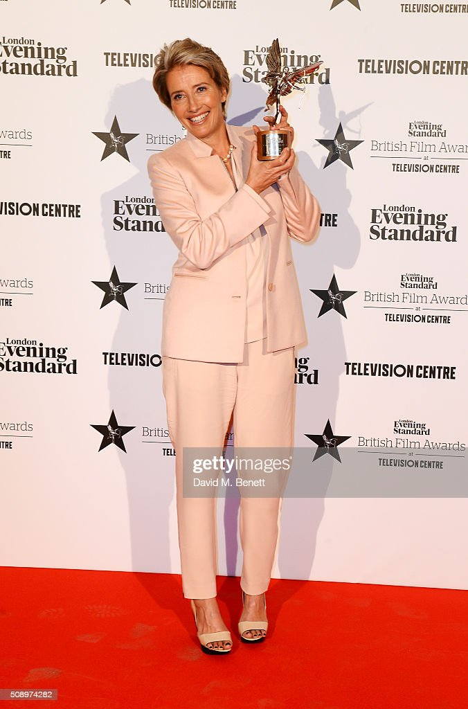 Emma Thompson winner of the Comedy Award for 'The Legend Of Barney Thomson' poses in front of the Winners Boards at the London Evening Standard...
