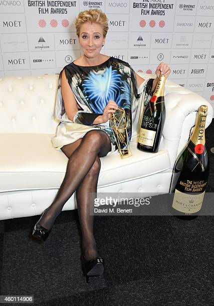Emma Thompson winner of the Richard Harris Award poses at The Moet British Independent Film Awards 2014 at Old Billingsgate Market on December 7 2014...