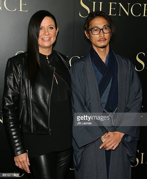 Emma Tillinger Koskoff and Yosuke Kubozuka attend the premiere of Paramount Pictures' 'Silence' on January 5 2017 in Los Angeles California