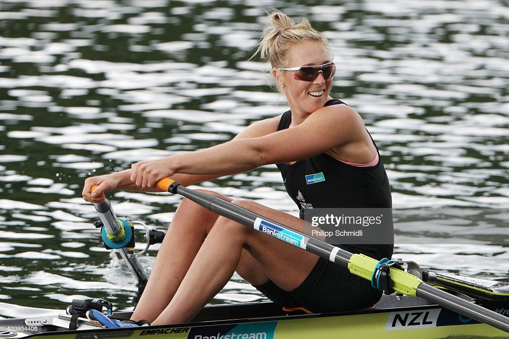 Emma Twigg of New Zealand row to victory in the Women's Single Sculls final during Day 3 of the 2016 FISA European And Final Olympic Qualification Regatta at Rotsee on May 24, 2016 in Lucerne, Switzerland.
