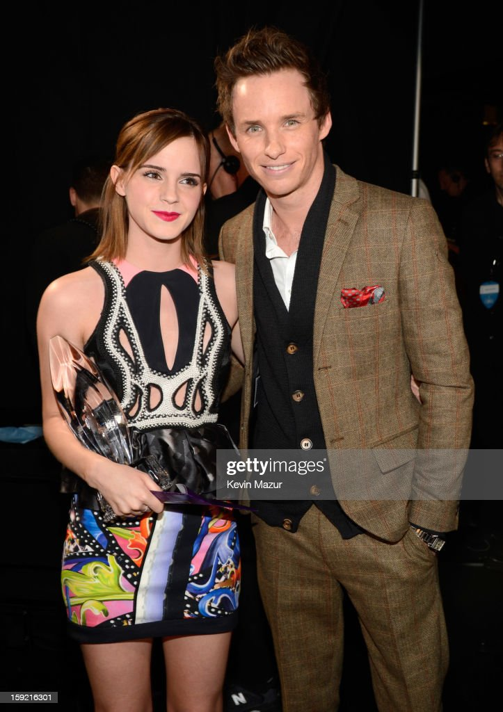 Emma Watson and Eddie Redmayne backstage during 2013 People's Choice Awards at Nokia Theatre L.A. Live on January 9, 2013 in Los Angeles, California.