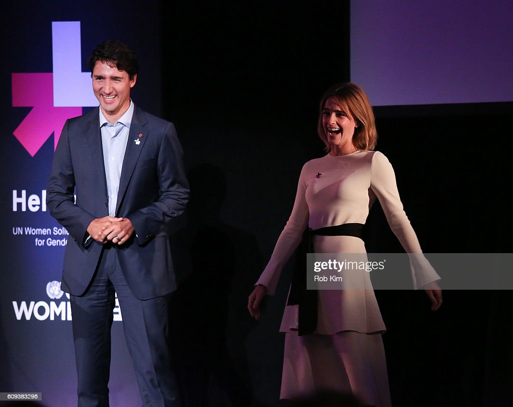 Emma Watson (R) and Justin Trudeau, Prime Minister of Canada attend the HeForShe 2nd Anniversary Reception at Museum of Modern Art on September 20, 2016 in New York City.