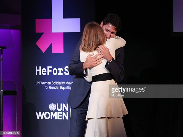Emma Watson and Justin Trudeau Prime Minister of Canada attend the HeForShe 2nd Anniversary Reception at Museum of Modern Art on September 20 2016 in...
