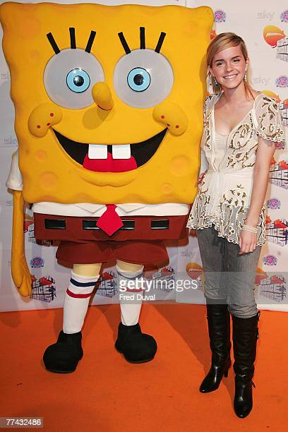 Emma Watson and Spongebob SquarePants attend the Nickelodeon Kids' Choice Awards on October 20 2007 in London England
