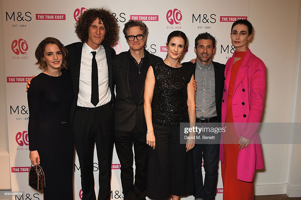 Emma Watson Andrew Morgan Colin Firth Livia Firth Patrick Dempsey and Erin O'Connor at the Eco Age screening of The True Cost on December 8 2015 in...