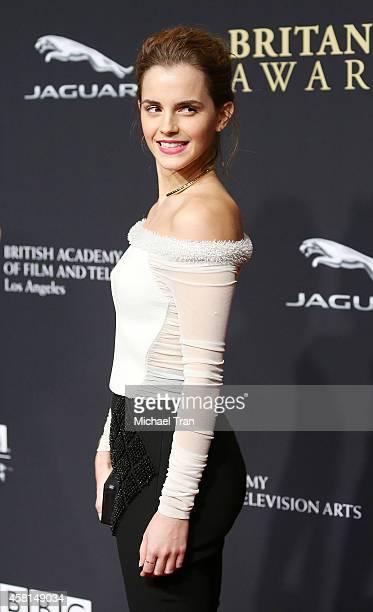 Emma Watson arrives at the BAFTA Los Angeles Jaguar Britannia Awards held at The Beverly Hilton Hotel on October 30 2014 in Beverly Hills California