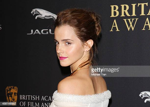 Emma Watson arrives at the BAFTA Los Angeles Jaguar Britannia Awards held at The Beverly Hilton Hotel on October 30 2014 in Beverly Hills California