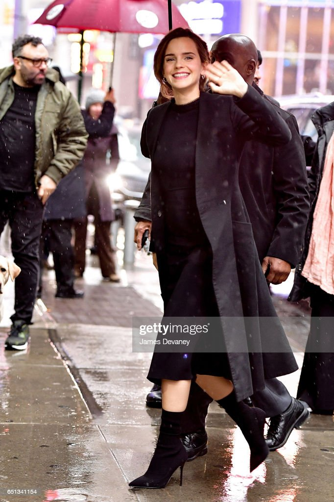Emma Watson arrives to ABC's 'Good Morning America' in Times Square on March 10, 2017 in New York City.