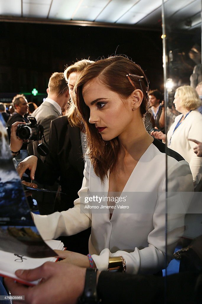 <a gi-track='captionPersonalityLinkClicked' href=/galleries/search?phrase=Emma+Watson&family=editorial&specificpeople=171373 ng-click='$event.stopPropagation()'>Emma Watson</a> attends 'Noe' Madrid Premiere at Palafox Cinema on March 17, 2014 in Madrid, Spain.