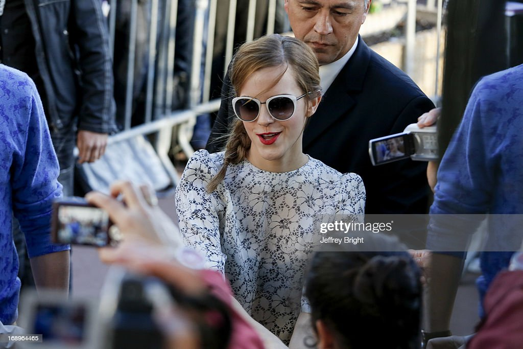 <a gi-track='captionPersonalityLinkClicked' href=/galleries/search?phrase=Emma+Watson&family=editorial&specificpeople=171373 ng-click='$event.stopPropagation()'>Emma Watson</a> attends the 66th Annual Cannes Film Festival on May 17, 2013 in Cannes, France.