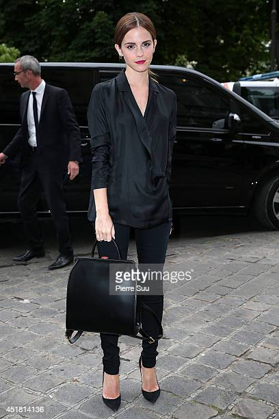 Emma Watson attends the Giambattista Valli show as part of Paris Fashion Week Haute Couture Fall/Winter 20142015 on July 7 2014 in Paris France