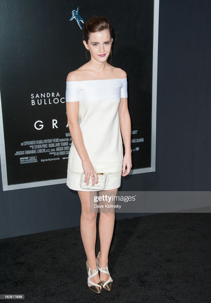 <a gi-track='captionPersonalityLinkClicked' href=/galleries/search?phrase=Emma+Watson&family=editorial&specificpeople=171373 ng-click='$event.stopPropagation()'>Emma Watson</a> attends the 'Gravity' premiere at AMC Lincoln Square Theater on October 1, 2013 in New York City.