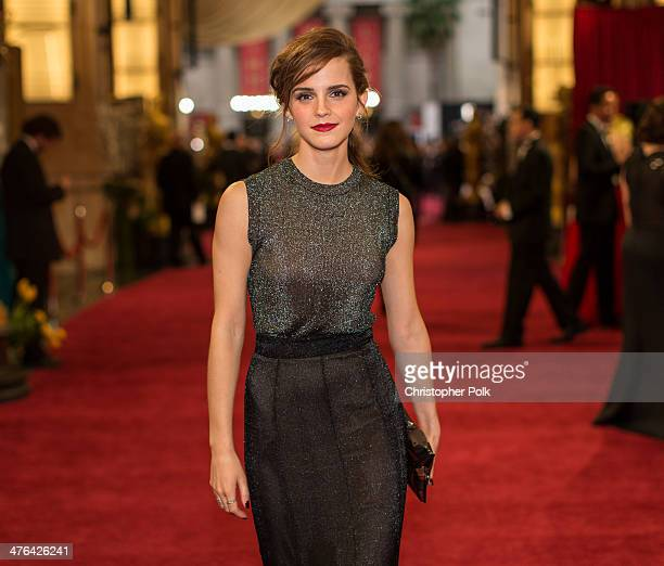Emma Watson attends the Oscars at Hollywood Highland Center on March 2 2014 in Hollywood California