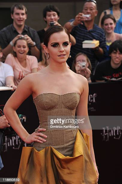 Emma Watson attends the premiere of 'Harry Potter and the Deathly Hallows Part 2' at Avery Fisher Hall Lincoln Center on July 11 2011 in New York City