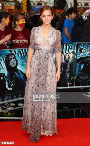 Emma Watson attends the UK Premiere of Harry Potter and the HalfBlood Prince at Odeon Leicester Square on July 7 2009 in London England
