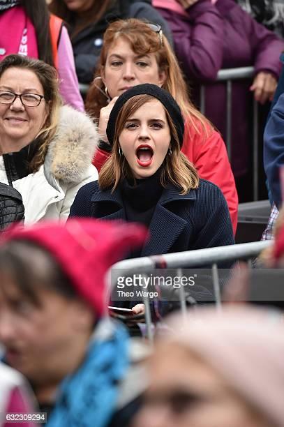 Emma Watson attends the Women's March on Washington on January 21 2017 in Washington DC