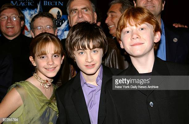 Emma Watson Daniel Radcliffe and Rupert Grint get together at the New York premiere of 'Harry Potter and the Sorcerer's Stone' at the Ziegfeld...